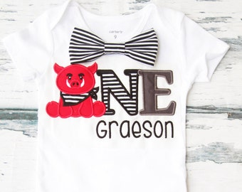Baby boy Razorback birthday onesie Arkansas Razorback themed boy one year outfit baby Razorback one striped bow tie boy birthday