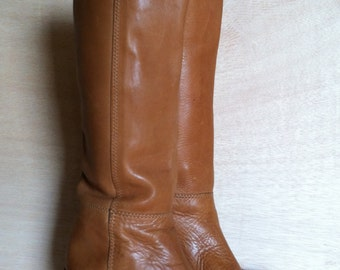 Vintage 1970s Cognac Brown Tanned Leather Equestrian Riding Boots Womens Size 5