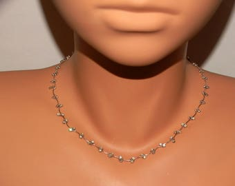 """LC Sterling Silver W/Small Rhinestones """"C"""" Link Choker Necklace."""