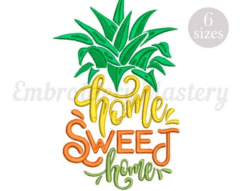 Machine Embroidery Pineapple. Home Sweet Home Embroidery. Ananas. Fruit. Summer Embroidery. Home Embroidery. 6 sizes. Instant download