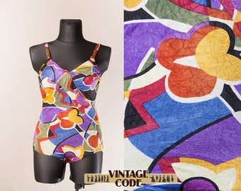 Abstract Geometric Colorful One Piece  Swimsuit /  80s 90s French swimsuit swimwear by Empieinte / Large Extra Large