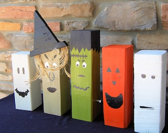 Set of 3 Halloween Characters Wooden Home Decor- 4x4 lumber, ghost, witch, Frankenstein, mummy, jack-o-lantern, decorations, fun, silly