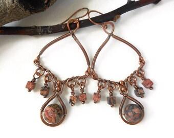 Wire wrapped chandelier earrings, earthy chandelier earrings, wire wrapped jewelry, tribal earrings, bohemian earrings, bohemian jewelry