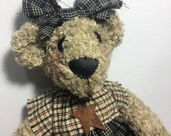Stuffed teddy bear, vintage teddy bear, Teddy bear, Country bear, handmade teddy bear, gift for her, gift for him, soft bear