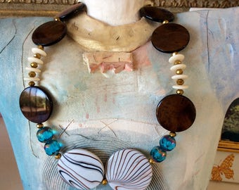 Iris Apfel inspired, brown disc necklace with faceted blue beads, runway , OOAK, wearable art,