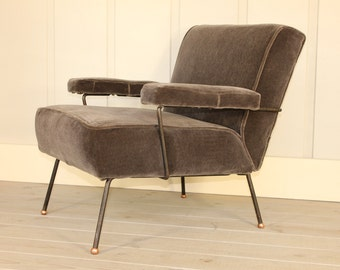 Mid Century Dan Johnson for Pacific Iron Frame Lounge Chair Copper Feet New Grey Mohair Fabric Modern Retro 40's 50's 60's Early Rare