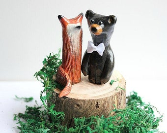 Wedding cake topper Fox and Bear  - Clay Fox and Bear  - Woodland Cake Topper - Rustic Wedding Cake Topper -MADE TO ORDER
