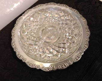 Elegant Silver Plated Dish by Renown~ Silver Platter ~ Silver Tray with cut glass insert ~ 3 Sections ~ Made Australia 1960s