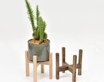 Mid Century Modern Planter Stand with Ceramic Pot, Indoor Planter Stand with Ceramic Pot, Plant Stand