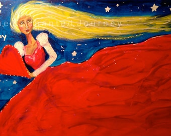 Mixed Media Painting, Woman, Red Dress, Long Blonde Hair, Red Heart, Love, Romantic