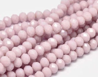 17 Inch Strand - 8x6mm Faceted Thistle Pink Glass Rondelle Beads - Glass Beads - Purple - Pink - Purplish Pink - Abacus - Jewelry Supplies