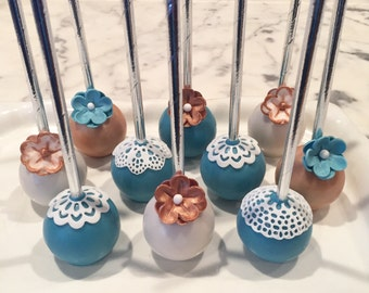 Shabby Chic Rustic Flower And Lace Cake Pops (regular or gluten free*)