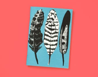 A6 Notebook blank Feathers Blue