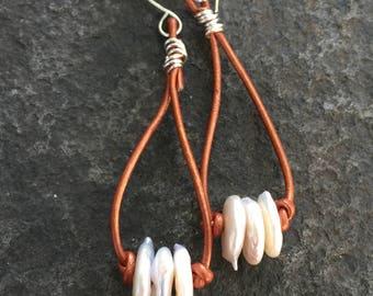 Pearl and Leather Dangle Earrings    Leather and Pearl Earrings   Leather Earrings  Boho Jewelry   Pearls  Earrings   Hoop Earrings