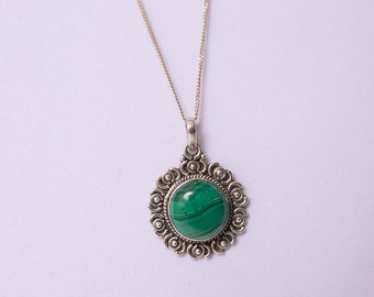 Malachite an Sterling Silver 24 inch Necklace