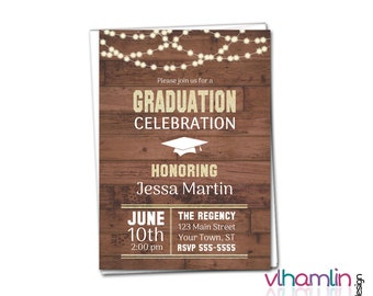 DIY Rustic Lights Graduation Party Invitation - PRINTABLE High School or College Graduation Invitations | country wood gold invites