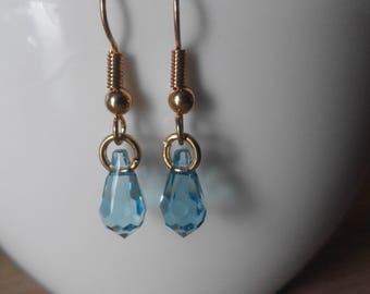Vintage Earrings Sky Blue Glass Facet Drop Gold Plated Brass Hook