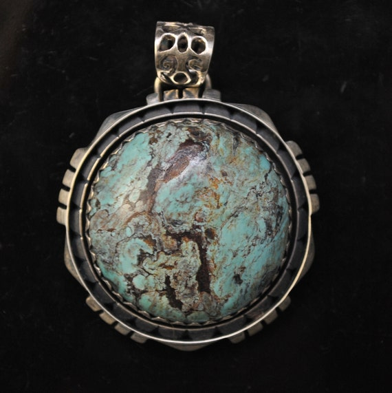 Sterling Silver Tibetan Turquoise Pendant Native American Style #9887