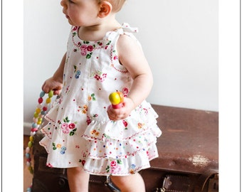 Baby ruffled dress and pants sewing pattern Sunny Dress and Bloomers, baby girl's dress pattern sizes 6mths to 6 years