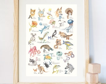 Animal Alphabet Art Print - Watercolour  A1, A2, A3 size