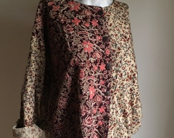 Vintage Indian Cotton and Embroidered Jacket Top • Cotton Print Jacket Top