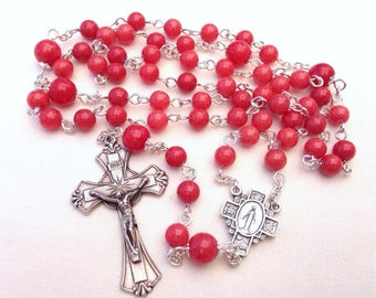 Traditional Catholic Rosary, Five decade rosary, Red rosary, Girl's rosary, Ladies rosary, Confirmation gift, First Communion gift