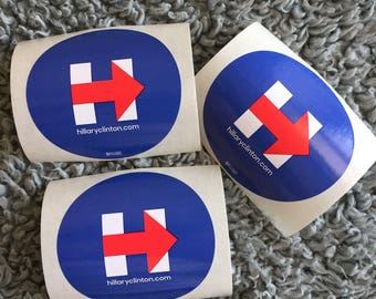 3 (THREE) Hillary Clinton : Campaign Stickers
