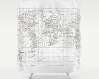White on White World Map Shower Curtain - Historical, travel decor, minimalist, fabric, crisp, clean