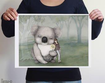 Giant Koala, large full colour art print by flossy-p. Australian gift with original art by flossy-p