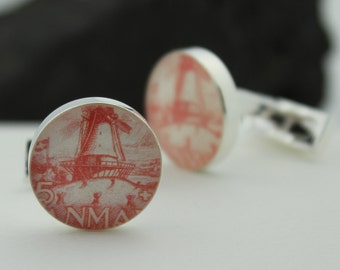 Windmill Cufflinks / Cufflinks - Danish Cuff Links for Men - Authentic Vintage Danish Postage Stamp Cufflinks (Cuff Links) - Danmark