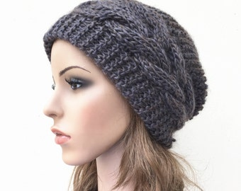 Hand knit hat Oversized Chunky Wool Hat slouchy hat dark Olive cable hat - ready to ship