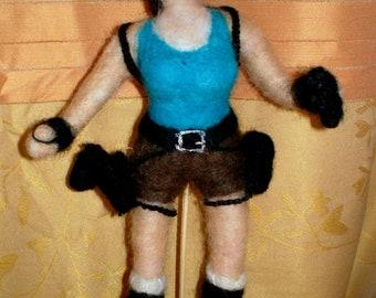 Lara Crft Action Figure Tomb Raider needle felted