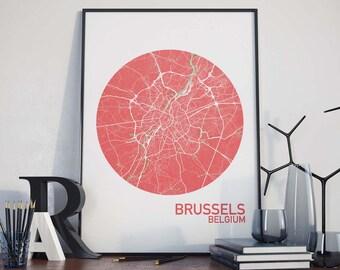 Brussels, Belgium City Map Print