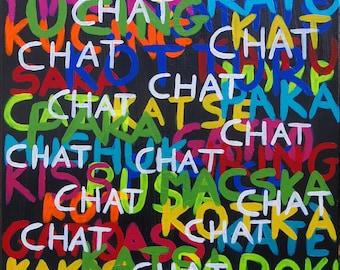 "Acrylic painting ""cat translator"""