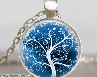 Tree of life frozen ice necklace ,Tree of life icy snowy jewelry , Snowy tree of life pendant ,handmade jewelry,friend family gift idea