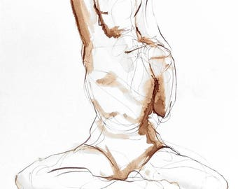 Tricep Stretch Yoga Drawing, Walnut Ink on Paper, Yoga Wall Art, Line Figure Drawing, Yoga Art, Gift for Yogi, Yoga Teacher Gift, Yoga Decor