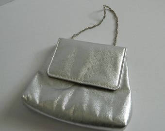Vintage 1960s Small Silver Handbag Made in USA
