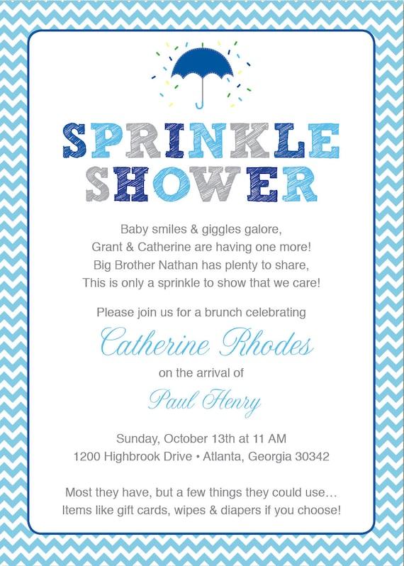 Blue Baby Sprinkle Shower Invitation Blue Grey Girl Chevron