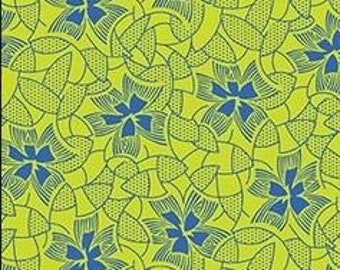 Yellow with Blue Flowers