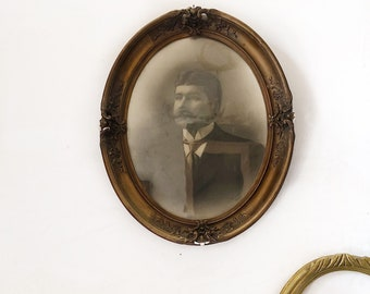 Antique french portrait photo framed / vintage portait photography / gold frame / antique picture frame / french wall decor