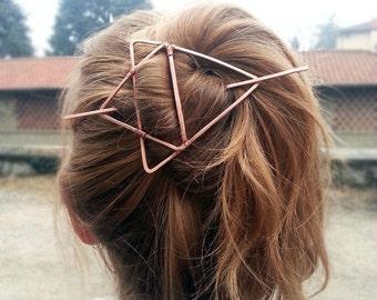 Triangle hair pin Copper hair slide for long Hair Geometric hair clip Christmas Gift for Womens gift For her Large hair barrette Bun holder