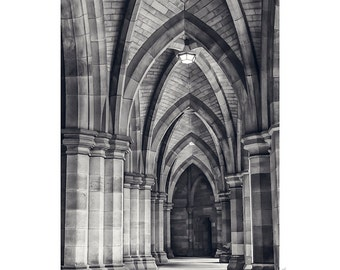 Urban Photography PRINT, Cloisters - 3, Black and White, Wall Art