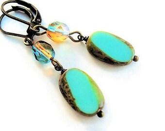 Green Earrings Glass Jewelry Boho Earrings Green Jewelry Long Earrings Bead Jewelry Gypsy Earrings Rustic Jewelry Dangle Earrings Gift Idea