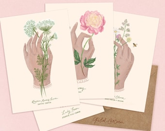 SALE - Botanical Art Flower Cards Variety Set - Thinking of You, Wedding Card, Wedding invites, Fern, Mushrooms, Queen Annes Lace, Peony