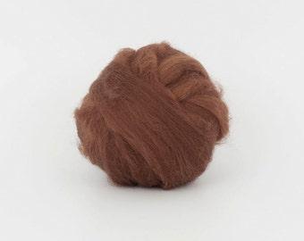 SaddleBrown B180 1.77oz (50gr), 19mic Extra Fine Merino Wool  Felting Wool, For Spinning And Needle Felting.  100% wool.
