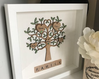 Personalised Scrabble Picture Family Tree