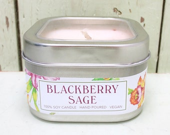 Blackberry Sage 8 oz. Soy Candle - Green Daffodil Soy Candleworks - Handpoured - Siouxsan and Anne -C8