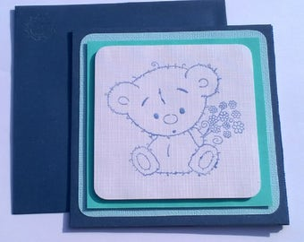 """""""Pooh tenderness"""" child blue card"""