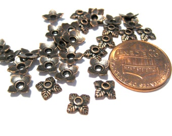 100pcs Antique Copper Bead Caps 5mm