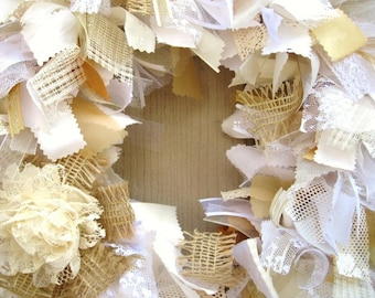 Wedding Door Decor, Lace Rag Wreath, White Wreath, Cottage Chic Wreath, Church Door Wreath, Boho Wedding Decor, Rustic Wedding, Shabby Decor